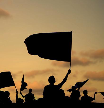 silhouette-of-protestors